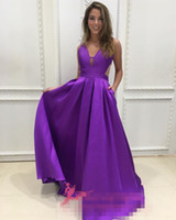 Wholesale vintage bone china - 2018 Sexy Simple Formal Evening Dresses Party Prom Wear A Line V Neck Sleeveless Floor Length Draped Purple Sexy Back China