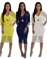 Wholesale Long Sleeve Yellow Bodycon Dress - Sexy Club Women Lace Dresses V Neck Cape Sleeves Night Party Dresses Slim Curve Lady Women Casual Dresses