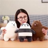 белые медведи куклы оптовых-Прохладный 3 шт. / лот 30 см Каваи мы голые медведи плюшевые игрушки мультфильм медведь чучела Гризли серый белый медведь панда кукла дети любят подарок на День Рождения