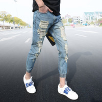 Wholesale Mens Personality Jeans - Skinny Jeans Mens Personality Rock Style Jean Hole Pant Casual Jeans Distressed Jeans Denim Pants Joggers For Men 28-34