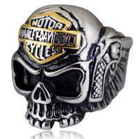 Wholesale White Gold Ring Mens - High Quality European Style Jewelry Mens Locomotive alphabet Biker Skull Rings Gold & Silver Harley Ring Men