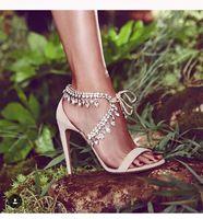 nackte kristallsandalen großhandel-Kristall Fransen Hochzeit Schuhe Partykleid High Heels Bling Lace-up Damen Sandalen Schwarz Nude Silber Wildleder Gladiator Sandalen Frau Zapatos