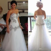 Wholesale sexy dresses drop ship online - Elegant Crystal Sheer Wedding Formal Maxi Dresses Hand Make Bridal Long Classical Gowns Custom Made Fat Little Brides Dresses