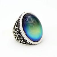кольца изменения цвета оптовых-Fastory Sale Awesome Изменение Цвета Кольцо Чувство Эмоции Настоящее Античное Посеребренная Ювелирные Изделия Кольца Настроения MJ-RS052