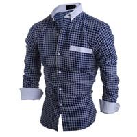 erkek gündelik gömlek giymek toptan satış-Iş Rahat Ekose Gömlek Erkek Bahar Giyim Uzun Bluz Genç Erkekler Ofis Kareli Tops Gelgit Boys Yeni Dış Giyim Gömlek 2018 Sıcak Satış