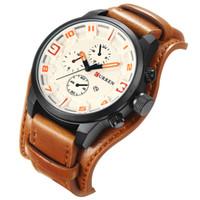 93408ee0aa1e CURREN 3 Dial Diseño Completo Calendario Moda Cinturón de Cuero Marrón  Hombres Reloj de Cuarzo Top Marca de Lujo Impermeable Relogio masculino