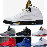 Wholesale Mark Pu Leather - 2018 wholesale 5 V Basketball Shoes men Olympic Metallic Gold space jam Green bean Mark Ballas Fire Red Metallic Silver sports Sneaker 41-47