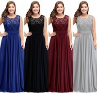 Wholesale modest prom dresses straps - Plus Size Modest Chiffon Bridesmaid Dresses 2018 A Line Scoop Neck Sleeveless Evening Prom Gowns Formal Party Wear CPS526