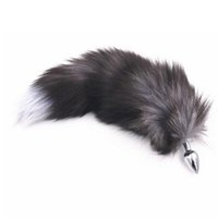 Wholesale anal plug tail for sale - Gray Faux Fox Tail Butt Anal Plug Metal Funny Adult Sex Toys For Woman Erotic Flirt Products For Adult Games