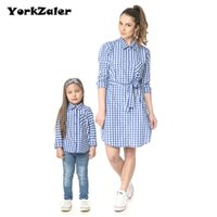 Wholesale mom son outfits - YorkZaler Family Matching Clothes Mother Daughter Clothes Father Son Outfits Mom Spring Autumn Family Lattice Shirt Plaid Shirt