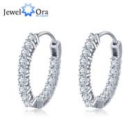 Wholesale Trendy Earrings For Girls - Trendy 925 Sterling Silver Hoop Earrings For Women Cubic Zirconia Stone New Fashion Jewelry Gift For Girl (JewelOra EA101739)