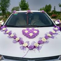 Wholesale Wedding Cars Flowers Set - 3 Style Korean Wedding Car Decorative Flower Simulation Rosse Car Decorative Flower Set Flowers & Wreaths