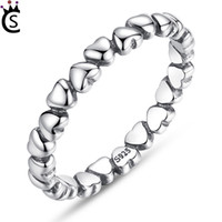 Wholesale forever anniversary ring - 100% Solid 925 Sterling Silver Rings Forever Love Heart Finger Ring Original Jewelry New Year and Valentines Day Gift Pandora Rings