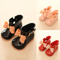 botas de lluvia zapatos de lluvia al por mayor-New Fashion Infant Baby Toddler Kid Girls Bowknot antideslizante Wellington Welly Boots Rain Shoes 3 colores