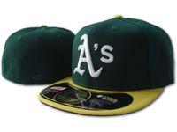 Wholesale baseball caps sizes resale online - Classic Fitted Hats Baseball Caps Flat Brim Hats Fits Size Ball Caps Athletics Team Hats Chapeu Masculino Bone De Beisebol