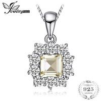 colar de limão venda por atacado-Jewelrypalace halo 0.65ct genuine gemstone lemon quartzo pingente de colar de prata esterlina 925 jóias finas nova sem corrente
