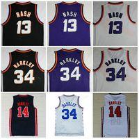 Wholesale mesh basketball shorts - Throwback Mesh Jerseys High Quality 13# Steve Nash Men Sportwear 34# Charles Barkley Stitched Jersey Black White Purple S-XXL