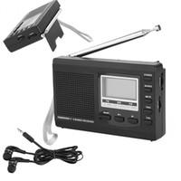 dijital radyo anteni toptan satış-Freeshipping Taşınabilir Mini FM Radyo DSP FM / MW / SW Alıcı Acil Radyo Dijital Anten FM Alıcısı ile Destekçi Hoparlör + Kulaklık