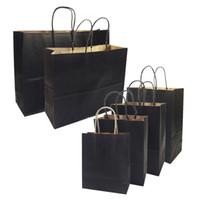 recycling-beutel großhandel-20 teile / los geschenkbeutel mit griffen multifunktions high-end schwarz papiertüten 6 größe recycelbar umweltschutz tasche