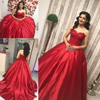 kırmızı elbise dantel top toptan satış-Sevgiliye Balo Kırmızı Quinceanera Elbiseler Arapça 2018 Dantel Aplike En Saten Düz Tatlı 16 Akşam Elbise robe de soiree