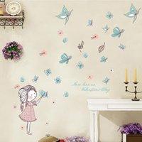 lindas niñas mariposas al por mayor-Diy Lovely Baby Girl Dormitorio Decoración Pegatinas de Pared de Dibujos Animados Lindo Mariposa Volando Inicio Habitaciones de Niños Naklejki Dekoracyjne