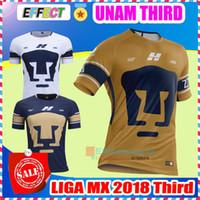 Wholesale Waterproof Dry - 2018 MEXICO Club LIGA MX NEW UNAM Club Universidad Nacional Van Rankin Soccer Jerseys Third Gold Castillo Cougar SOSA 17 18 Football Shirts