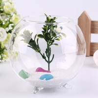 Wholesale Fish Support - Tripod Support Round Shape Glass Plant Flower Landscape Vase Container Transparent Hydroponic Vase Fish Tank Fishbowl Home Deco