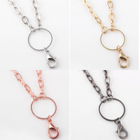Wholesale rhinestone gun necklace - Free Shipping Newest DIY Jewelry Necklace Chains Gold Silver Rose Gold Gun Black Link Chain for Glass Living Memory Floating Locket