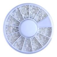 стикеры жемчуга ногтей оптовых-New Fashion DIY Nail Art Decorations 1Box Nail Art Rhinestones Gliers Nail Pearl Size Mixing Manicure Drill Nails Stickers 30