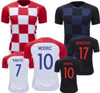 camiseta de fútbol azul roja al por mayor-MODRIC 2018 Copa del Mundo MANDZUKIC Home red away azul Soccer Jersey PERISIC RAKITIC SRNA KOVACIC 18 19 Camisetas de fútbol