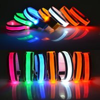 Wholesale Led Arm Light Band - Arm Warmer Belt Bike LED Luminous Armband LED Safety Sports Reflective Belt Strap Snap Wrap Light up Arm Band Armband