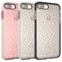 Wholesale Diamond Bumper Iphone Case - For Iphone 7 Plus Case Diamond Pattern TPU Bumper Translucent Shockproof Case Cover For Iphone X 8 7 6 Plus Clear Case Cover