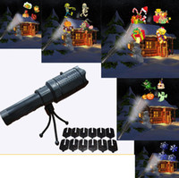 Wholesale christmas gadgets for sale - Group buy LED Flashlight Projection Lamp with Slide Cards Muiltifuction For Halloween Christmas Outdoor Indoor Decorations Outdoor Gadgets OOA5938
