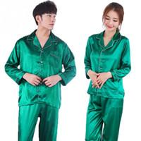 pyjama-sets für paare großhandel-Frauen Männer Casual Design Soft Satin Material Seide Satin Pyjama Sets Langarm Nachtwäsche Paar Casual Homewear Nachtwäsche