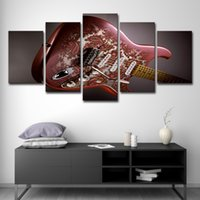 ingrosso dipinti strumenti musicali tela-Home Decor Canvas Wall Art For Living Room 5 Panel Guitar Musical Instruments Pittura HD Poster Stampe
