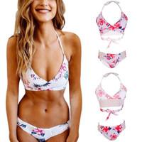 Wholesale Sexy Big Breasted Women - Sexy Swimwear Women Cross Bandage Bikini Set Push-up Padded Bra Bathing Suit Swimsuit Bikini Push Up Big Breast 2018 Plus Size