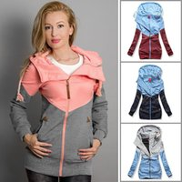 Wholesale assorted clothes online - Women assorted color Sweatshirt Outerwear Spring Autumn Splicing Tops Pregnancy Clothes Maternity Hooded coat fashion casual coat FFA1173