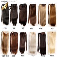 Wholesale hair 33 online - Bella Hair Remy Synthetic Handmade Ponytail Hair Extensions Straight inch Color B J Julienchina