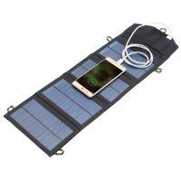 painéis solares dobráveis venda por atacado-Venda quente 5 V 7 W Portátil Painel Solar Ao Ar Livre de Viagem De Emergência Dobrável Carregador de Banco De Potência Com Porta USB