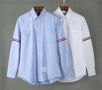 nuevas camisas de los hombres de la cinta al por mayor-New TB classic manga doble Tri Color Ribbon moda manga larga camiseta THOM camiseta Fashion browne sudadera para hombre novia