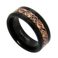 кельтские пары ювелирные изделия оптовых-Черный карбид вольфрама кольца розовое золото цвет кельтский Дракон инкрустация обручальные кольца для пар ювелирные изделия