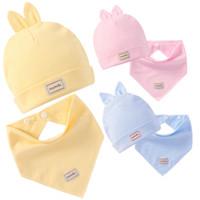 floral cotton layer Australia - Baby Bibs Elastic Baby Bibs Double Layers Pure Cotton Baby Caps With Saliva Towel Set Infant Burp Cloths