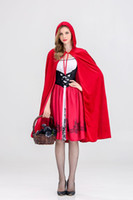 Wholesale red riding hood woman costume online - Little Red Riding Hood Costume for Women Fancy Adult Halloween Cosplay Fantasia Dress Cloak Cosplay Costume For Party