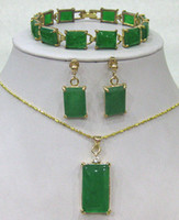 Wholesale marcasite pendant necklace - Fashion Green Jade bracelet  earrings  Necklace Pendant Jewelry Set AAA