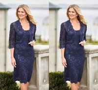 Wholesale squared jacket resale online - Dark Navy Mother Of The Bride Dresses Knee Length Lace Sequins Half Long Sleeves Column Party Evening Dresses With Jacket For Weddings