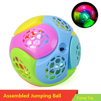 Wholesale vibration balls - Children's educational assembling flash with sound shock jumping ball Assembled electric toy balls sound light vibration bounce ball toys
