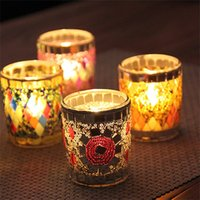 Wholesale Unique Holiday Decorations - Romantic Mosaic Design Small Glass Cup Candlestick For Home Bar Nights Decoration Unique Retro European Style Candle Holder 7zb Z