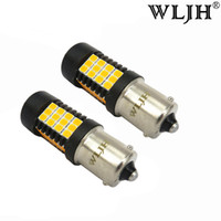 Wholesale Back Up Light Bulb - WLJH BAU15S LED Front Rear Turn Signal Auto Car Truck 1156PY PY21W LED DRL Back up Light Amber Yellow Bulb 2835 9V-30V