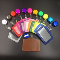 Wholesale metal retractable id badge holder - Round Key Buckle ID Card Badge Holder Creative Retractable Pull Keys Ring Candy Color Keychain Office Supplies 0 6hy C