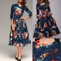 Wholesale Wish Autumn Clothing New Pattern Restore Ancient Ways Wind Printing Long Sleeve Thick And Disorderly Printing Dress
